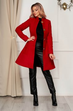 Elegant red coat cloth cloche with pockets with inside lining