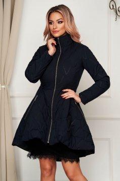 Darkblue jacket elegant midi from slicker with pockets flaring cut