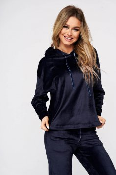 Darkblue casual sport 2 pieces 2 pieces loose fit with undetachable hood