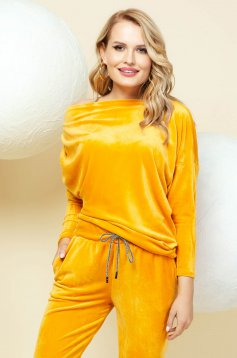 Casual mustard sport 2 pieces from two pieces with trousers velvet one shoulder