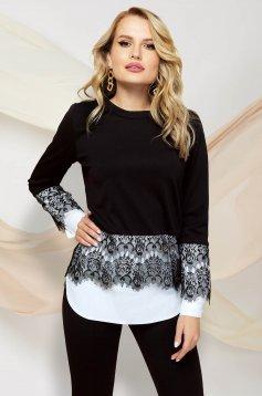 Bluza dama PrettyGirl neagra eleganta cu croi larg si aplicatii de dantela
