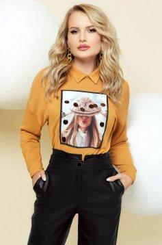 Knitted mustard sweater elegant flared