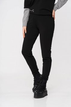 Conical long sporty black trousers StarShinerS with elastic waist