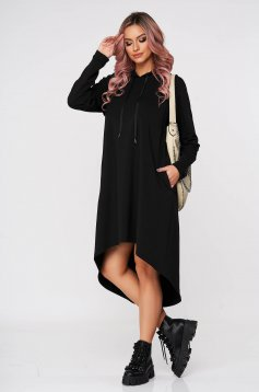 StarShinerS black dress casual asymmetrical flared from soft fabric with undetachable hood