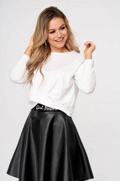 Women`s blouse StarShinerS white velvet flared short cut