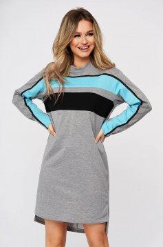 Daily asymmetrical grey dress StarShinerS straight long sleeved