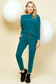 Casual dirty green sport 2 pieces from two pieces with trousers velvet one shoulder
