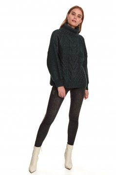Green sweater casual flared with turtle neck raised seams knitted