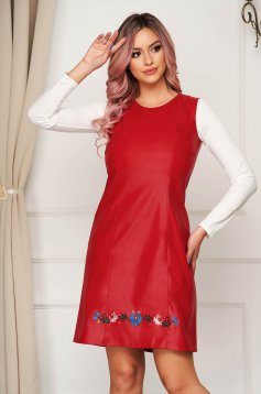 Red short cut daily dress StarShinerS a-line from ecological leather sleeveless with embroidery details