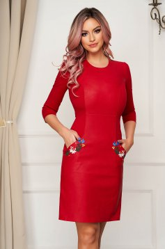 Pencil short cut daily red dress StarShinerS cloth from ecological leather with front pockets with embroidery details