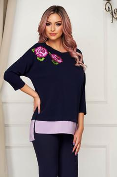 StarShinerS flared darkblue women`s blouse