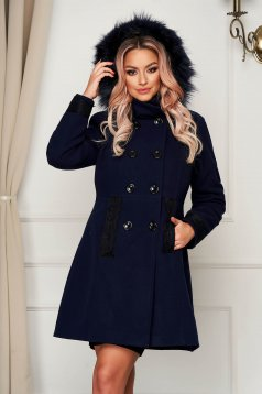 Elegant coat darkblue wool short cut cloche with furry hood