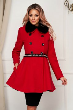 Coat red wool short cut cloche fur collar elegant
