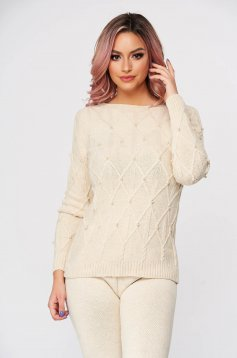 Casual cream sport 2 pieces from two pieces knitted fabric with pearls