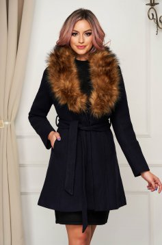 Coat cloche elegant darkblue fur collar with pockets