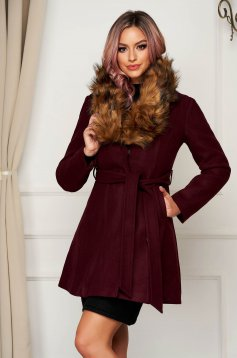 Coat cloche elegant burgundy fur collar with pockets