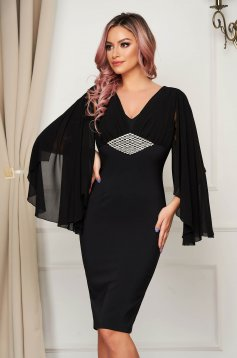 Occasional black dress with veil sleeves with embellished accessories