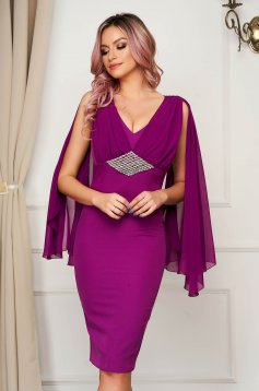 Occasional purple dress with veil sleeves with embellished accessories