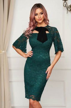 Elegant dirty green dress laced midi pencil with bow