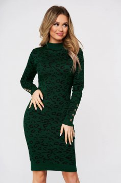 Darkgreen dress with animal print with tented cut with button accessories knitted