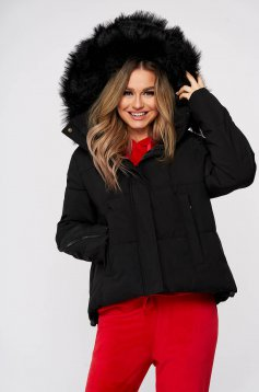Black casual jacket with easy cut with undetachable hood from ecological fur from slicker