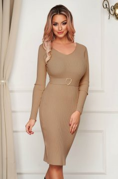 Brown dress midi pencil knitted with v-neckline daily