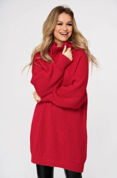 Red sweater with turtle neck with easy cut knitted fabric from thick fabric casual