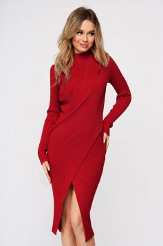 Red dress wrap over skirt slit knitted from striped fabric midi
