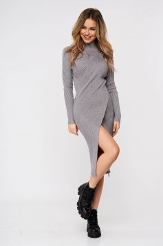 Grey dress wrap over skirt slit knitted from striped fabric midi