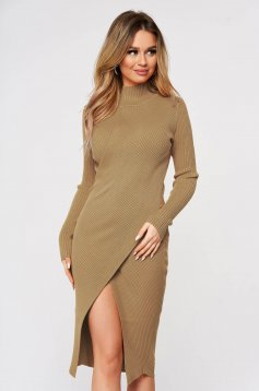 Cappuccino dress wrap over skirt slit knitted from striped fabric midi
