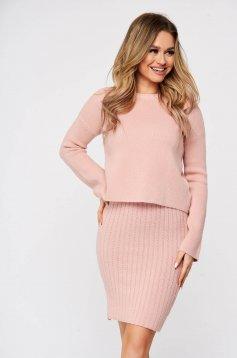 Compleu SunShine roz din doua piese cu rochie din material reiat elastic si fin