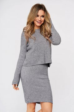 Grey lady set 2 pieces with dress from striped fabric from elastic and fine fabric