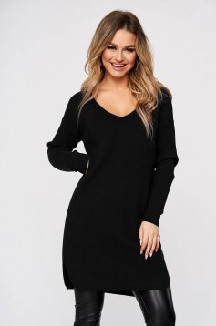 Black blouses & shirts from elastic and fine fabric from striped fabric knitted with v-neckline