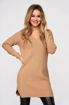 Cream blouses & shirts from elastic and fine fabric from striped fabric knitted with v-neckline