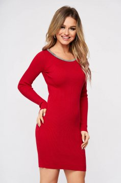 Red dress from elastic fabric from striped fabric knitted with metal accessories neckline
