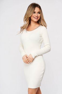White dress from elastic fabric from striped fabric knitted with metal accessories neckline