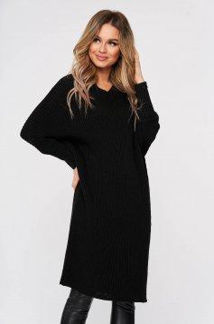 Rochie SunShine casual neagra din material reiat tricotat maneci largi trei-sferturi