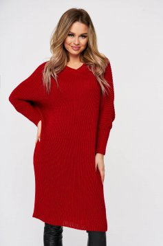 Red dress from striped fabric knitted fabric 3/4 sleeve large sleeves casual