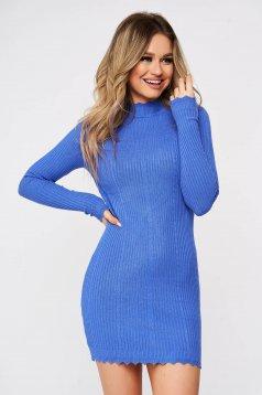Rochie SunShine albastra tricotata cusaturi fine relief din material elastic si fin reiat