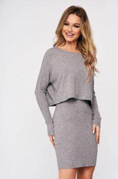 Rochie SunShine gri din material moale reiat tricotat cu aplicatii cu pietre strass