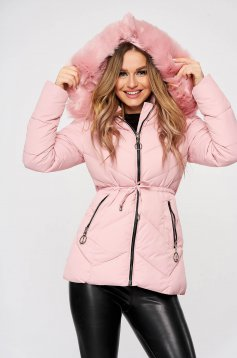 Pink jacket from slicker is fastened around the waist with a ribbon detachable hood with furry hood with zipper details pockets