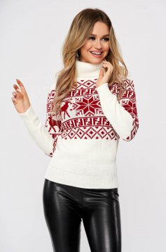 Casual white sweater with print details with turtle neck knitted fabric
