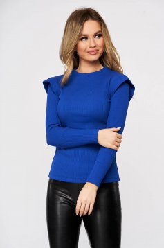Casual cotton blue women`s blouse from striped fabric top wrinkled sleeves