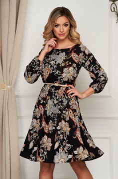 Rochie StarShinerS floral office midi clos cu elastic in talie din material subtire
