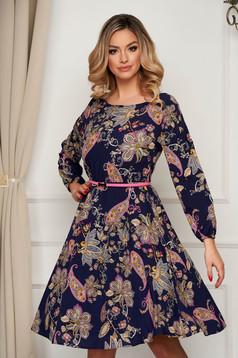 Office dress StarShinerS midi cloche with elastic waist thin fabric