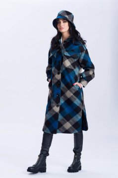 Blue coat flared with chequers with pockets