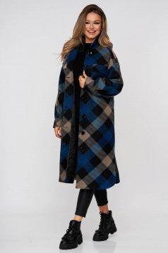 Palton cu croi larg in carouri cu slituri lateral si buzunare