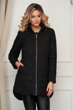 Jacket asymmetrical black from slicker the jacket has hood and pockets