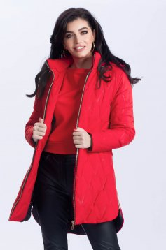 Jacket asymmetrical casual red from slicker the jacket has hood and pockets
