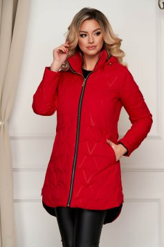 Jacket asymmetrical red from slicker the jacket has hood and pockets